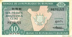10 Francs BURUNDI  1981 P.33a SUP