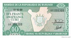 10 Francs BURUNDI  1989 P.33b NEUF