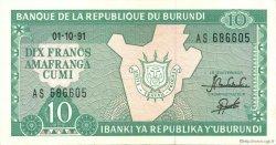 10 Francs BURUNDI  1991 P.33b SUP