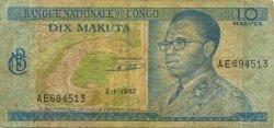 10 Makuta CONGO (RÉPUBLIQUE)  1967 P.09a B+