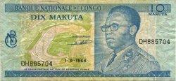 10 Makuta CONGO (RÉPUBLIQUE)  1968 P.009a TTB