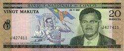 20 Makuta CONGO (RÉPUBLIQUE)  1967 P.010a SUP