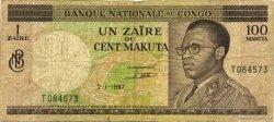 1 Zaïre - 100 Makuta CONGO (RÉPUBLIQUE)  1967 P.012a B+
