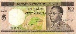 1 Zaïre - 100 Makuta CONGO (RÉPUBLIQUE)  1967 P.12a TTB