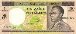 1 Zaïre - 100 Makuta CONGO (RÉPUBLIQUE)  1970 P.12b TTB à SUP
