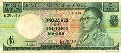 5 Zaïres - 500 Makuta CONGO (RÉPUBLIQUE)  1968 P.13b TTB