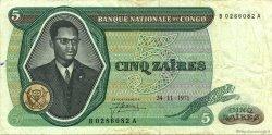 5 Zaïres CONGO (RÉPUBLIQUE)  1971 P.014a TTB