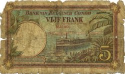5 Francs CONGO BELGE  1924 P.08c AB