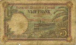 5 Francs CONGO BELGE  1926 P.08c B