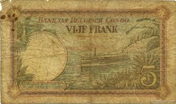 5 Francs CONGO BELGE  1929 P.08e AB