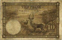 10 Francs CONGO BELGE  1937 P.09 B+