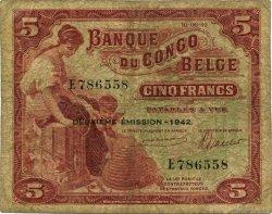 5 Francs CONGO BELGE  1942 P.13 B+