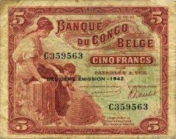 5 Francs CONGO BELGE  1942 P.13 TB