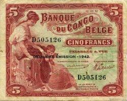 5 Francs CONGO BELGE  1942 P.13 TTB
