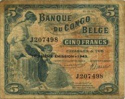 5 Francs CONGO BELGE  1943 P.13Aa B+