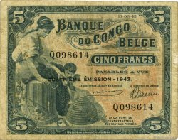 5 Francs CONGO BELGE  1943 P.13Ab TB