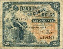 5 Francs CONGO BELGE  1944 P.13Ac TB