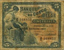 5 Francs CONGO BELGE  1947 P.13Ad B