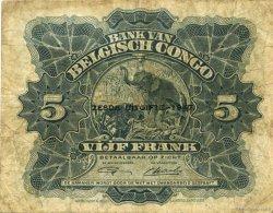 5 Francs CONGO BELGE  1947 P.13Ad TB