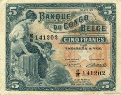 5 Francs CONGO BELGE  1949 P.13B SUP