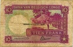 10 Francs CONGO BELGE  1943 P.14C pr.TB