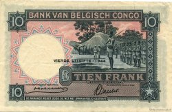 10 Francs CONGO BELGE  1944 P.14D TTB