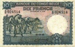 10 Francs CONGO BELGE  1949 P.14E TB
