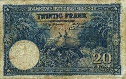 20 Francs CONGO BELGE  1940 P.15 B+