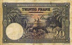 20 Francs CONGO BELGE  1942 P.15A TB+