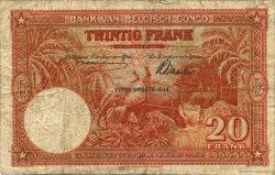 20 Francs CONGO BELGE  1944 P.15D B+
