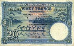 20 Francs CONGO BELGE  1948 P.15F TTB