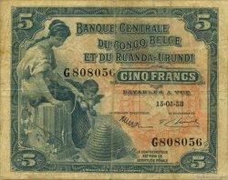 5 Francs CONGO BELGE  1953 P.21 TB+