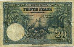 20 Francs CONGO BELGE  1952 P.23 B+