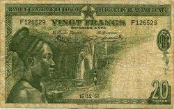 20 Francs CONGO BELGE  1953 P.26 B+