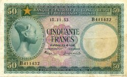 50 Francs CONGO BELGE  1953 P.27a pr.TTB