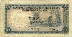 10 Francs CONGO BELGE  1956 P.30b TB