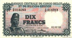 10 Francs CONGO BELGE  1958 P.30b SUP+
