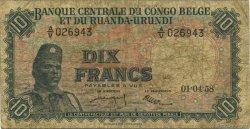 10 Francs CONGO BELGE  1958 P.30b B