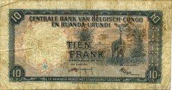 10 Francs CONGO BELGE  1958 P.30b TB