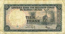 10 Francs CONGO BELGE  1959 P.30b TB