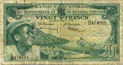 20 Francs CONGO BELGE  1956 P.31 B