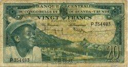 20 Francs CONGO BELGE  1957 P.31 B+