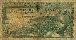 20 Francs CONGO BELGE  1957 P.31 B