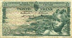 20 Francs CONGO BELGE  1957 P.31 TB+