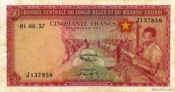 50 Francs CONGO BELGE  1957 P.32 pr.TTB