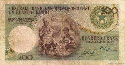 100 Francs CONGO BELGE  1956 P.33a TB