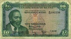 10 Shillings KENYA  1967 P.02b B+