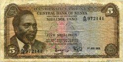 5 Shillings KENYA  1969 P.06a B+