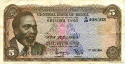 5 Shillings KENYA  1969 P.06a TTB