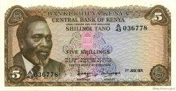 5 Shillings KENYA  1971 P.06b SUP